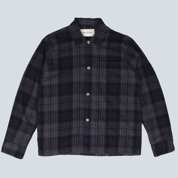 OUR LEGACY - BOX SHIRT DARK TARTAN - NAVY