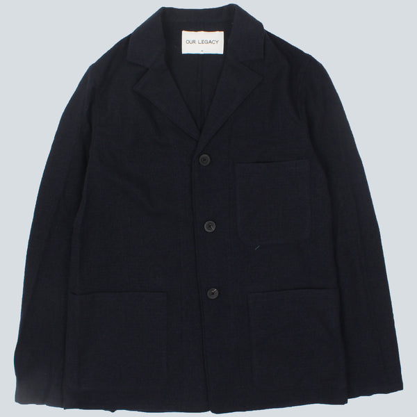 OUR LEGACY - LIGHT WOOL FLEECE BLAZER - NAVY