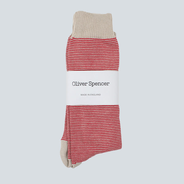 Oliver Spencer Breton Sock - Red/Oatmeal