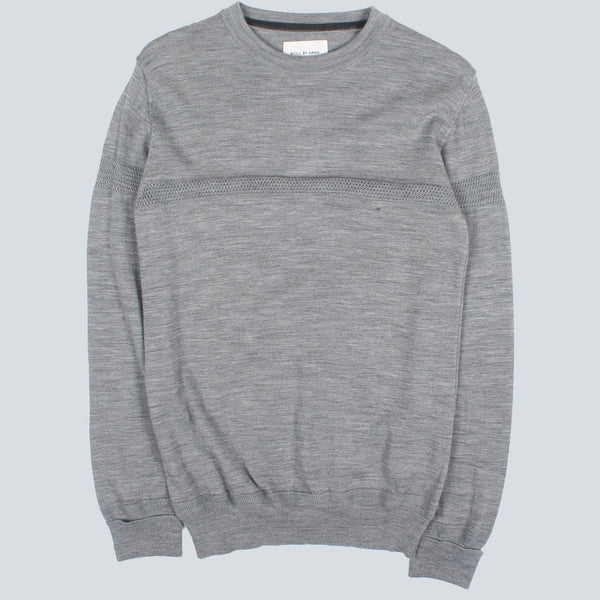 STILL BY HAND - LINE KNIT PULLOVER - GREY