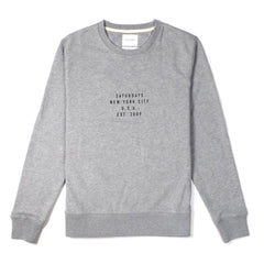 SATURDAYS NYC - BOWERY ESTABLISHED USA SWEATER - ASH HEATHER
