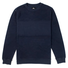 STUSSY - REVERSE FLEECE PANEL CREW - NAVY
