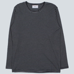 WAX - FINHAM L/S T-SHIRT - NAVY / WHITE STRIPE