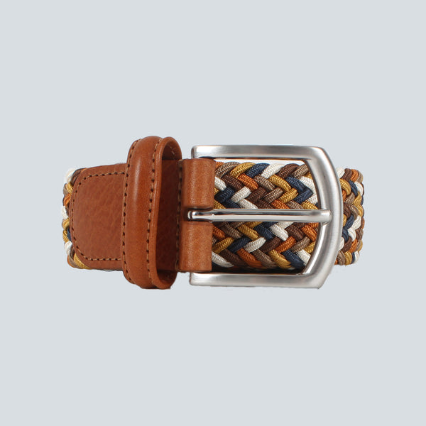 ANDERSONS - WOVEN TEXTILE BELT - TAN / BROWN / BLUE