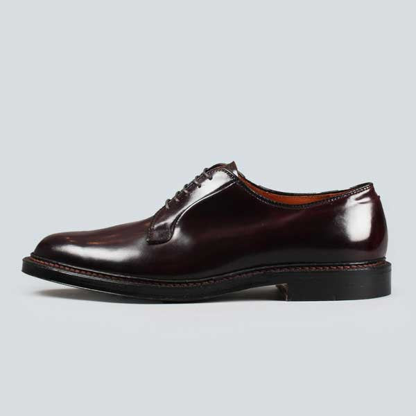 alden plain toe blucher - dark burgundy cordovan, outer side view