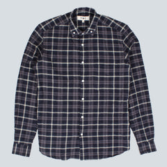 YMC Crinkle Cotton Check Button Down Shirt - Navy