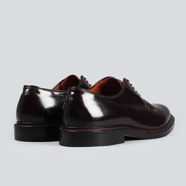alden plain toe blucher - dark burgundy cordovan, rear on view