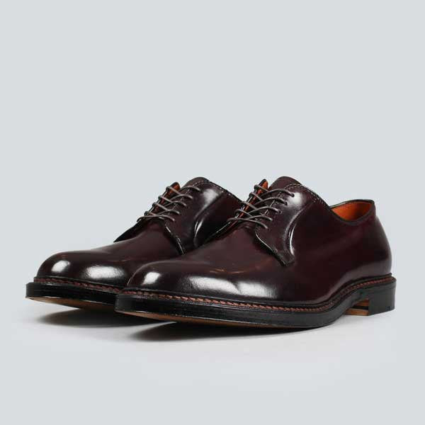 alden plain toe blucher - dark burgundy cordovan, front on view