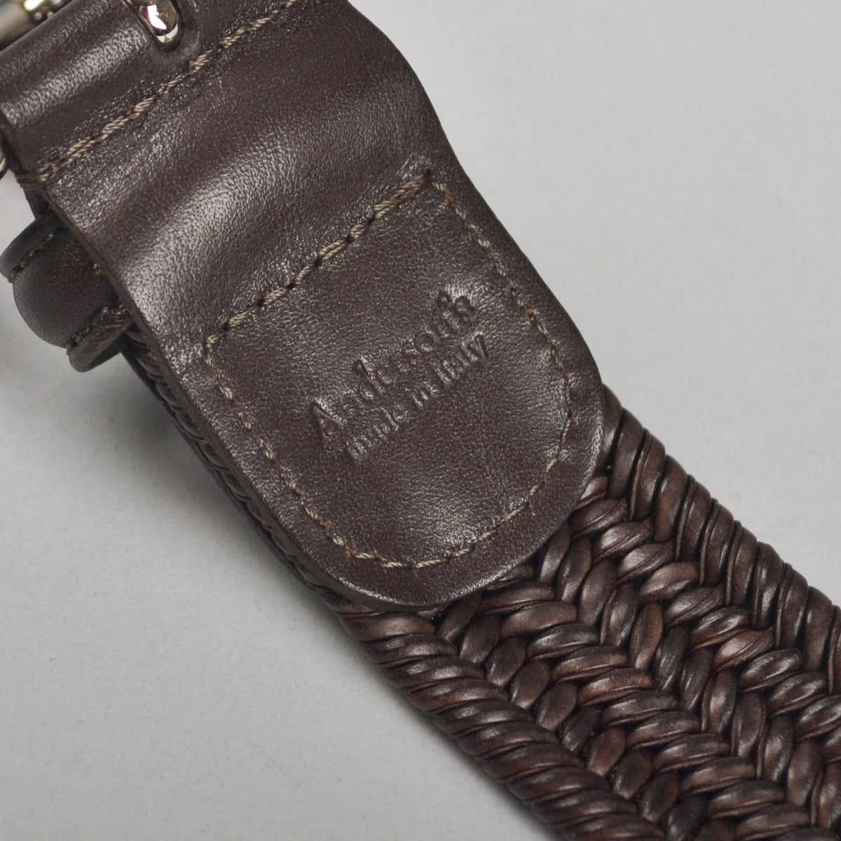 ANDERSON'S - WOVEN LEATHER BELT - DARK BROWN