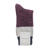 Democratique - Relax Block Knit Socks - Red Wine / Off White Melange / Navy