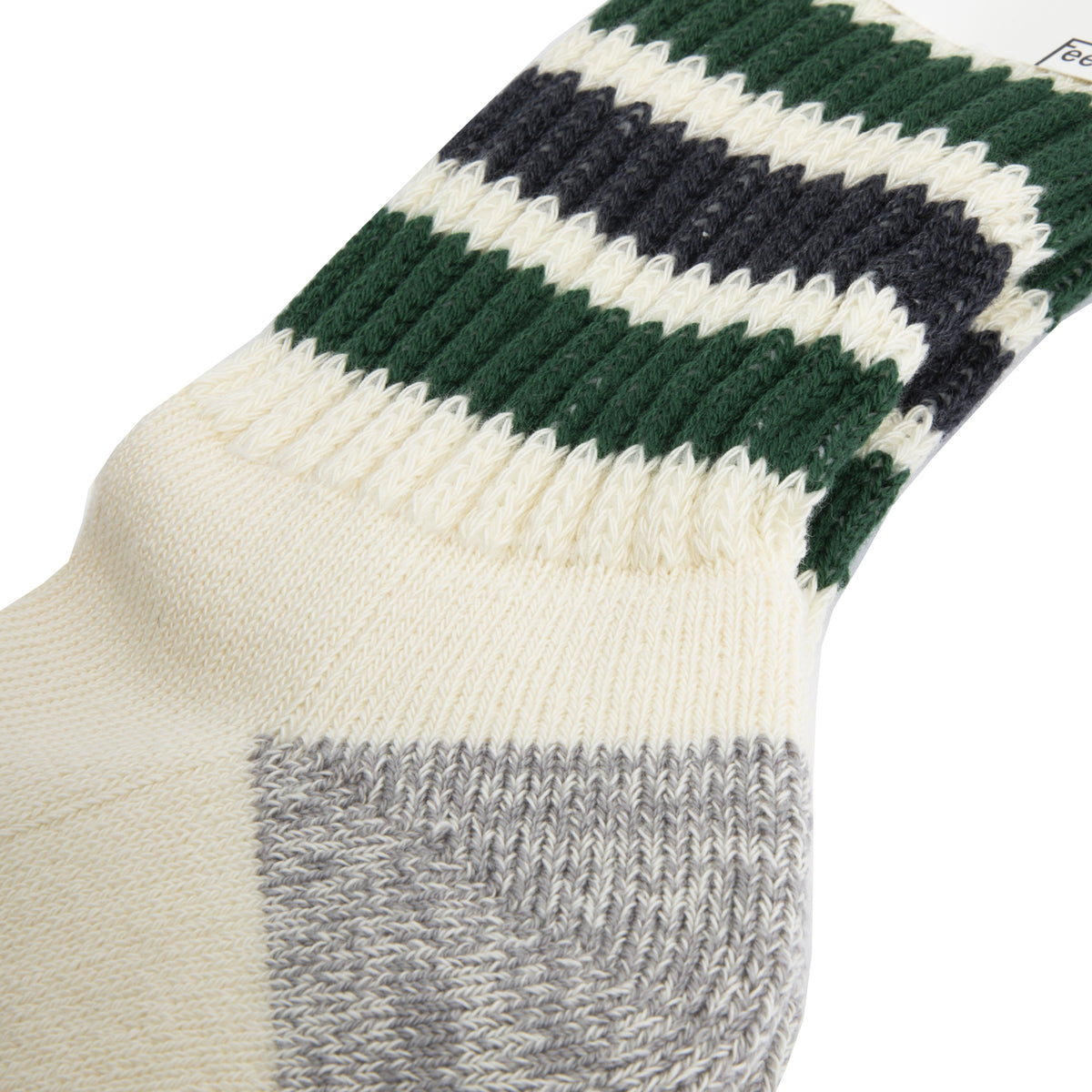 Rototo - Coarse Ribbed Old School Socks - Green/Charcoal