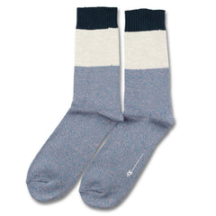 Democratique - Relax Block Knit Socks - Petroleum Blue / Off White Melange / Dark Emerald
