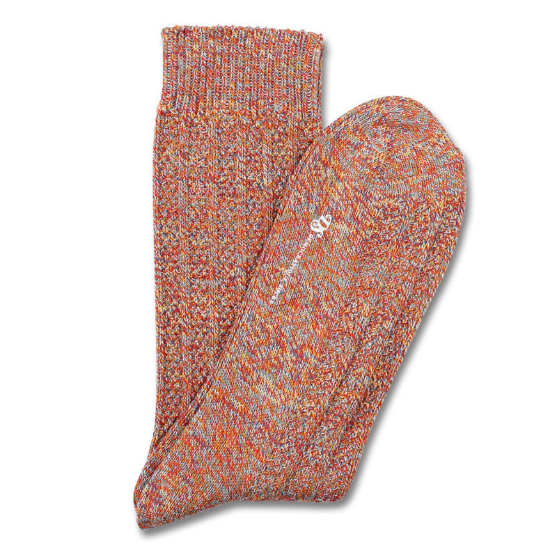 Democratique - Relax Bubble Knit Socks - Spring Red / Curry Masala / Off White / Petroleum Blue