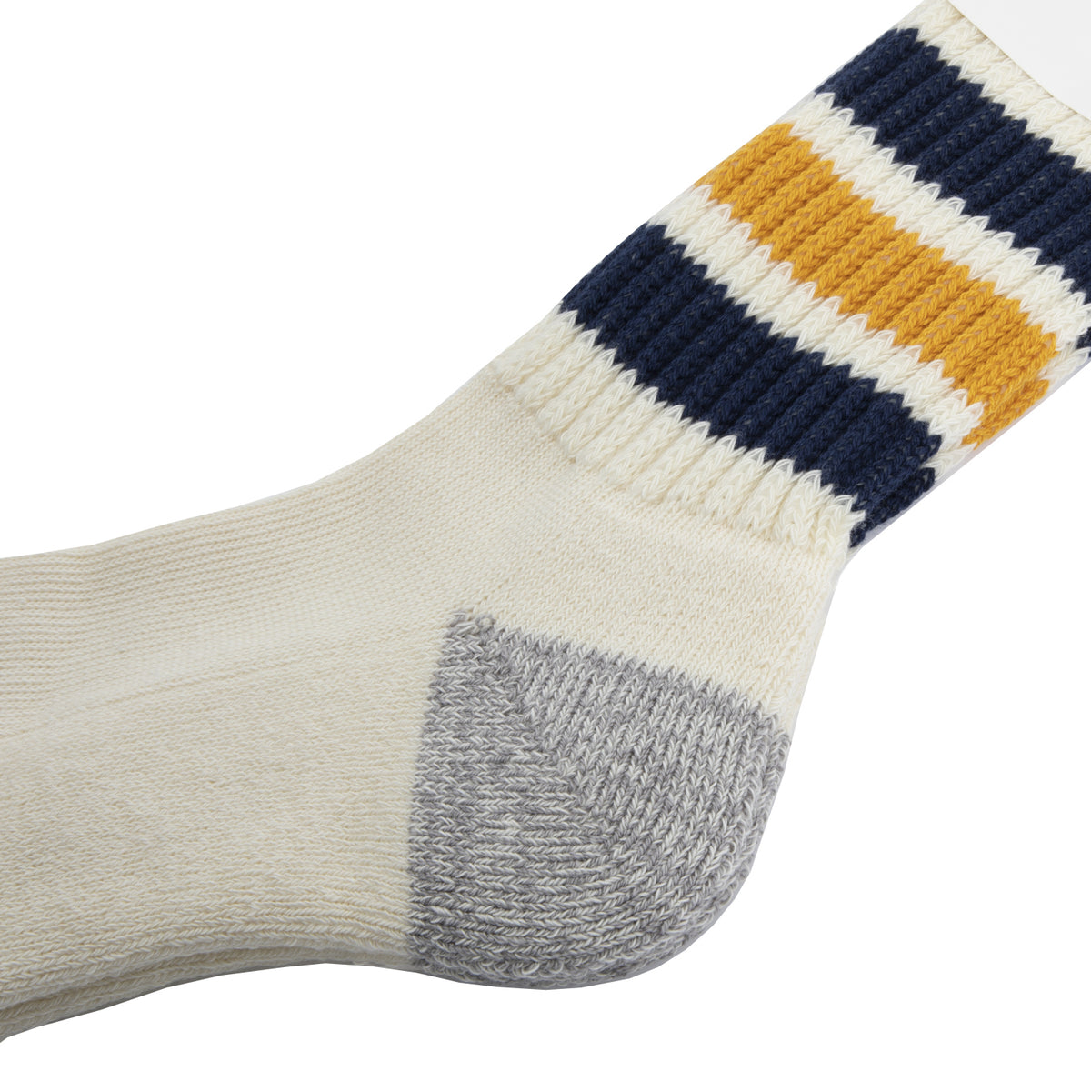 Rototo - Coarse Ribbed Old School Socks - Navy/Yellow