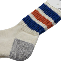 Rototo - Coarse Ribbed Old School Socks - Blue/Orange