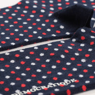 Democratique - Polka Dot Socks - Navy / Spring Red / Clear White