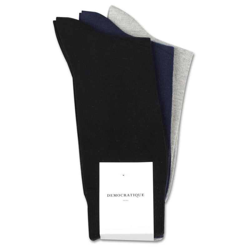 Democratique - Originals Solid 3 Pack Socks - Navy / Black / Light Grey
