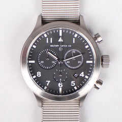 MWC MIL-TEC III Stainless Steel Military Pilots Chronograph - Silver