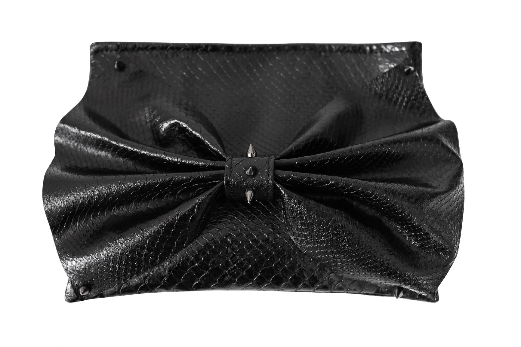 BLACK KARMA STUDDED CLUTCH