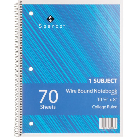 Sparco Products Wirebound College Ruled Notebooks