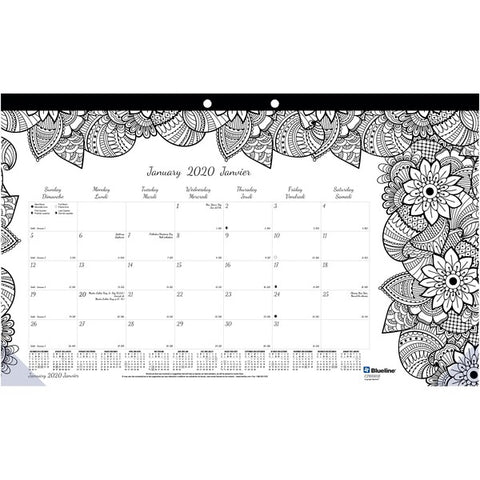 Dominion Blueline, Inc Botanica Colouring Monthly Desk Pads