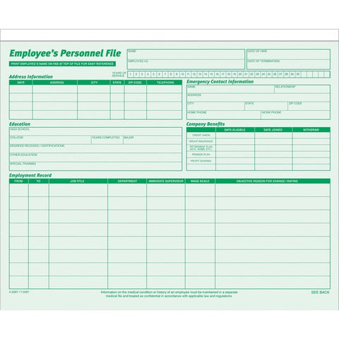 TOPS Products Employee Record File Folders