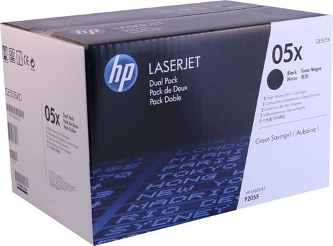 HP 05X (CE505XD) Black High Yield 2-pack Original LaserJet Toner Cartridges (2 x 6500 Yield)