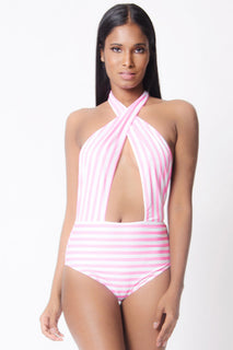 STRIPPED PRINT HALTER NECK BODYSUIT