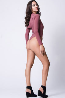 LACE UP HOODIE SOLID BODYSUIT