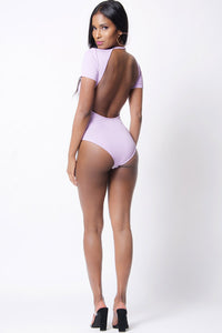 OPEN BACK SHORT SLEEVE BODYSUIT