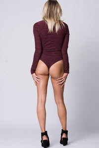 METALLIC DEATIL LACE UP BODYSUIT