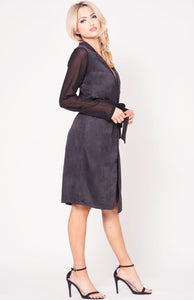 FAUX SUEDE SELF TIE COAT