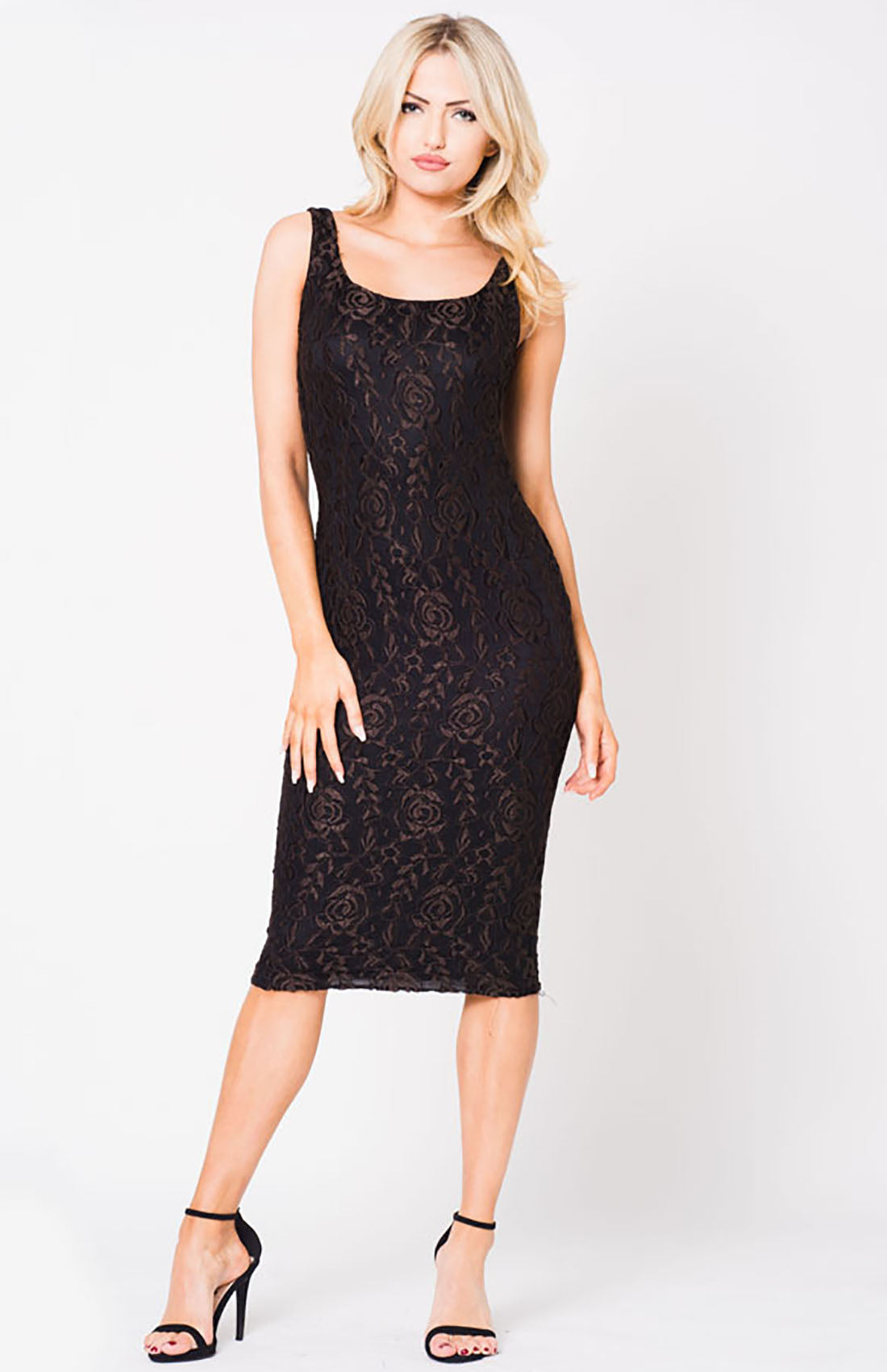 FLORAL LACE SLEEVELESS DRESS