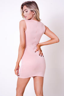 MESH DETAIL SOLID MINI DRESS