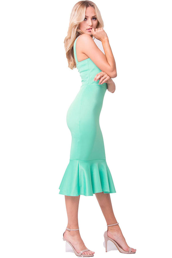 SLEEVELESS SOLID MERMAID DRESS