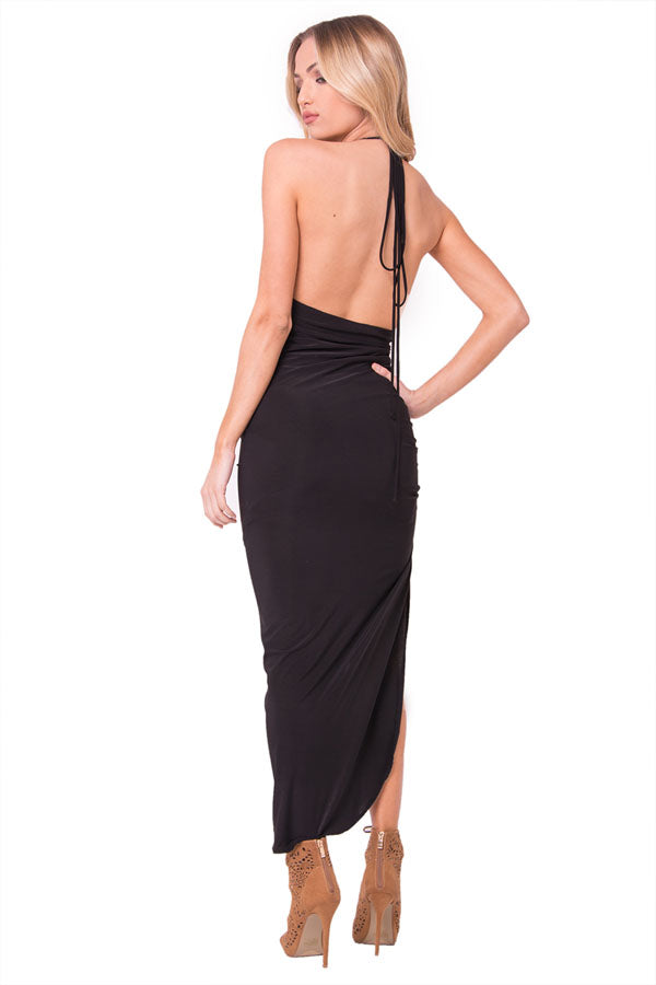 SURPLICE HALTER DRESS
