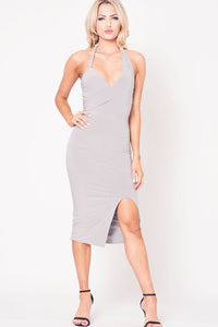 HALTER NECK SOLID MIDI DRESS