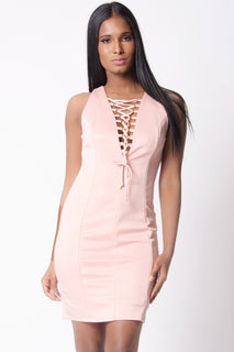 LACE UP SLEEVELESS MINI DRESS