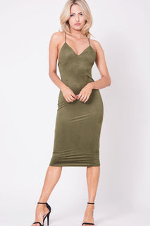 SPAGHETTI STRAP FAUX SUEDE DRESS