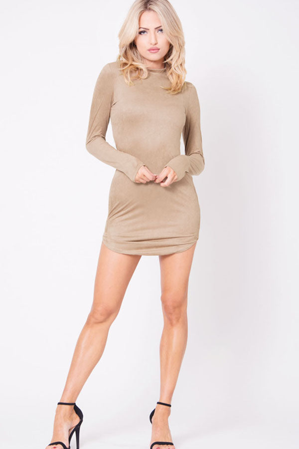 SUEDE MOCK NECK MINI
