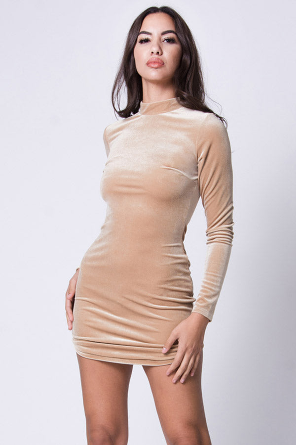 LONG SLEEVE VELVET MINI DRESS