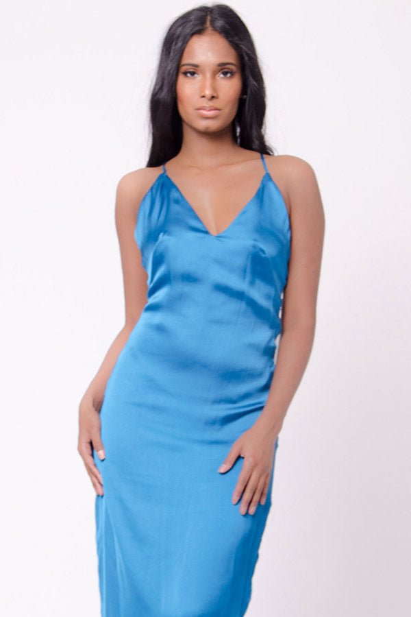 SATIN SLIT MAXI DRESS