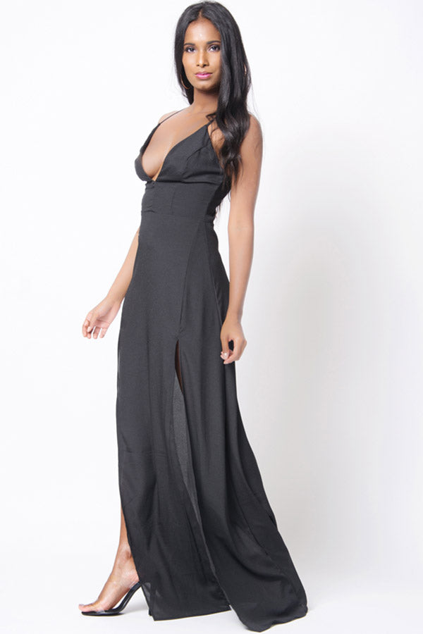 V NECK DOUBLE SLIT MAXI DRESS