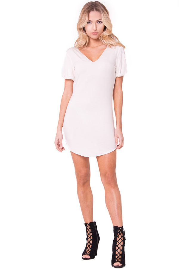 SHORT SLEEVES SHIFT MINI DRESS