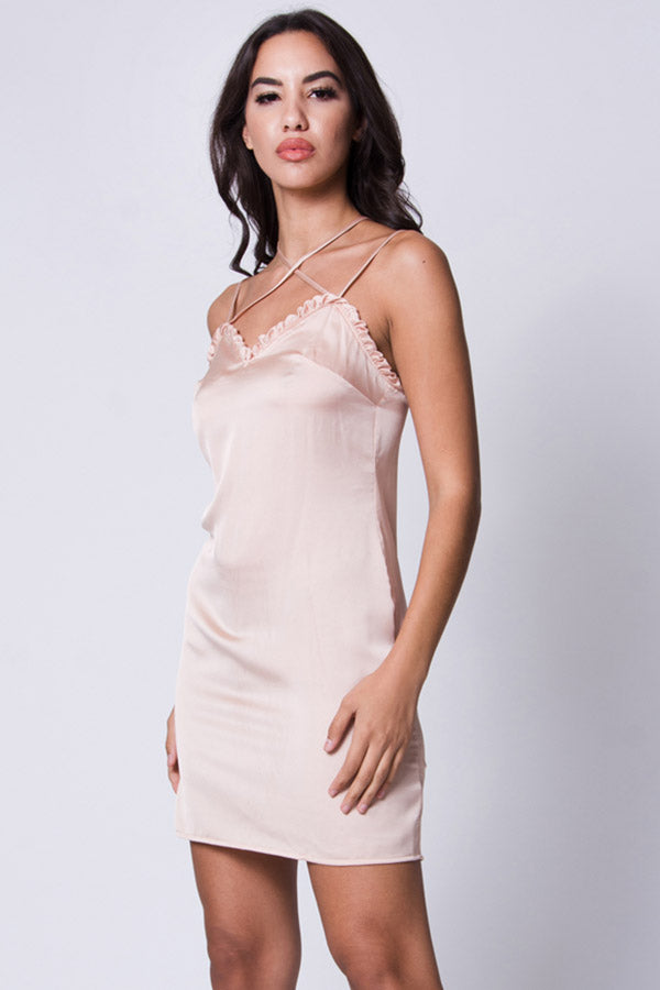 CRISSCROSS SATIN DRESS