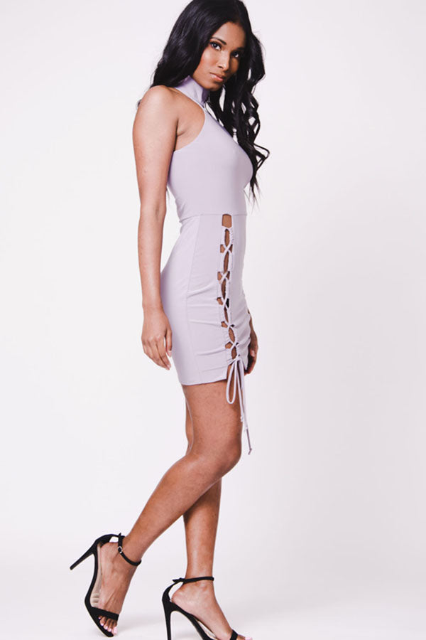 LACE UP MOCK NECK DRESS