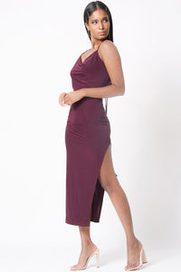 COWL NECK SIDE SLIT MIDI DRESS