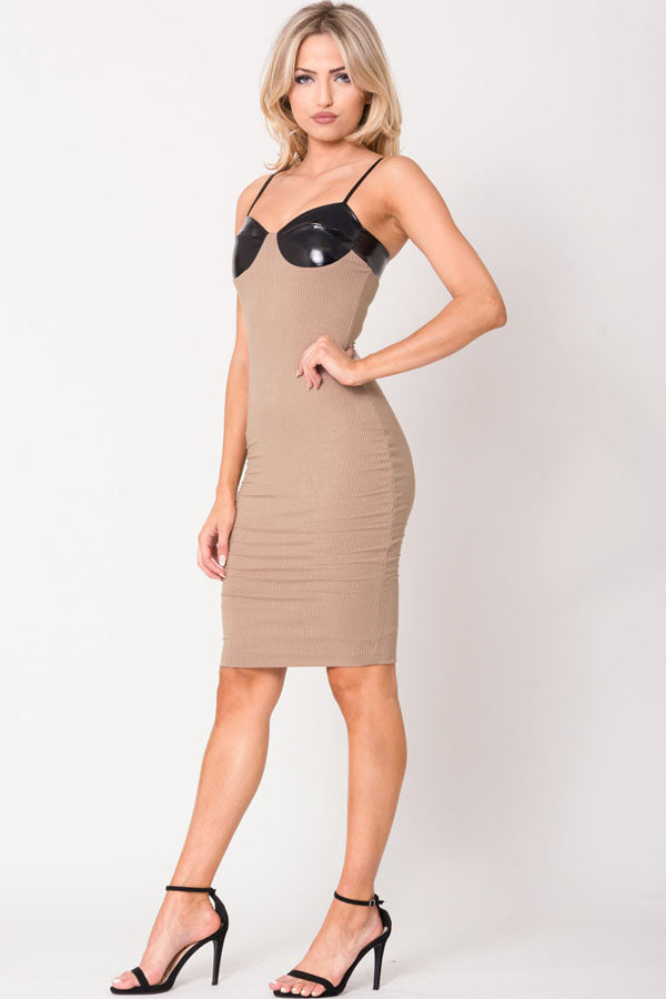 BUSTIER CUT SOLID MINI DRESS