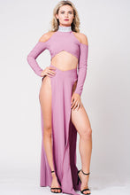 Load image into Gallery viewer, COLD SHOULDER DOUBLE SLIT MAXI DRESS