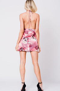 FLORAL PRINT HALTER MINI DRESS